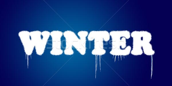 Szó tél fedett hó kék háttér Stock fotó © carenas1