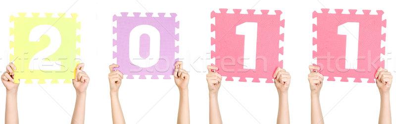 Enfant 2011 nouvelle année nombre garçon Photo stock © carenas1