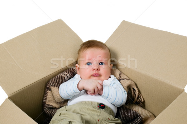 Baby boy in the box Stock photo © carenas1