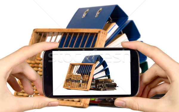 Man foto documenten abacus smart Stockfoto © carenas1