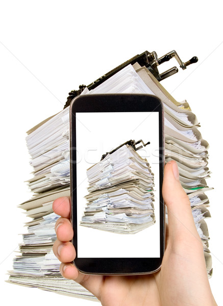 Man is taking photo of many documents Stock photo © carenas1