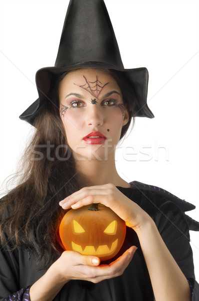 the pumpkin and witch Stock photo © carlodapino