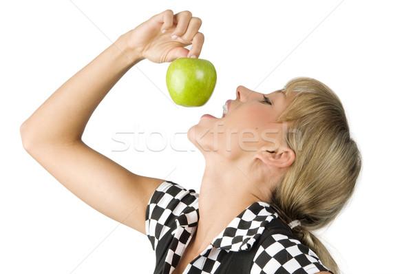 Eszik alma szép fiatal lány falat zöld Stock fotó © carlodapino
