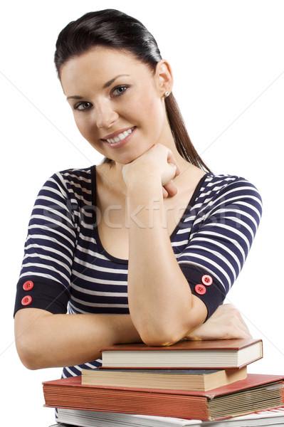 étudiant livre cute fille tenue décontractée livres Photo stock © carlodapino