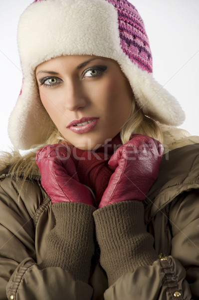 close up of girl with pink hat Stock photo © carlodapino