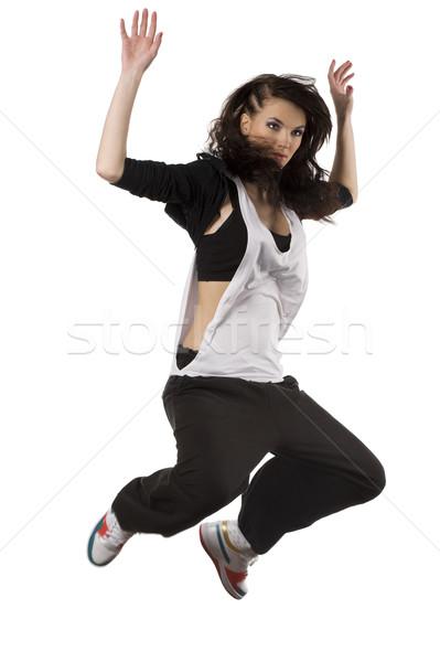 девушки хип-хоп танцовщицы прыжки современных Сток-фото © carlodapino