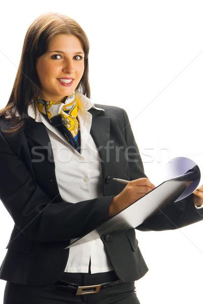 Hostes gülen genç güzel kadın siyah Stok fotoğraf © carlodapino