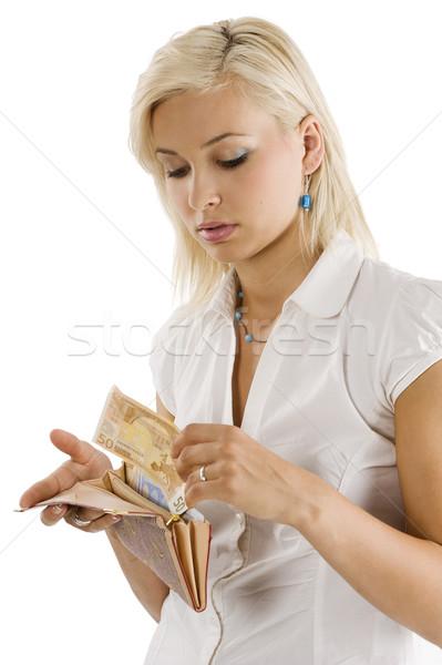 Elvesz pénz pénztárca szőke kecses modell Stock fotó © carlodapino