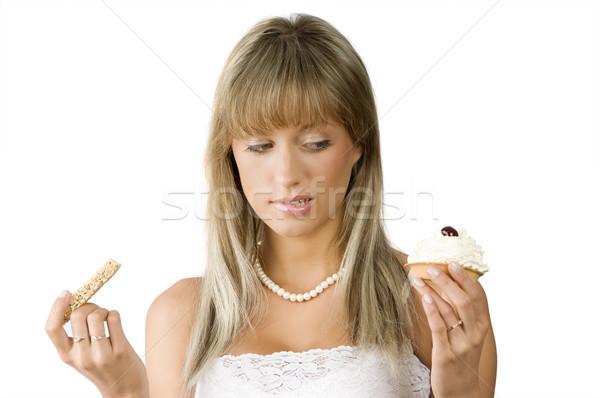 Nem gyönyörű lány habozás választ édes diéta Stock fotó © carlodapino
