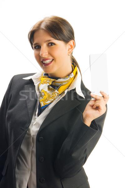 Düşünmek sevimli hostes siyah takım elbise Stok fotoğraf © carlodapino