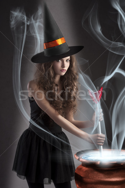 beautiful long haired girl dressed like a halloween Stock photo © carlodapino