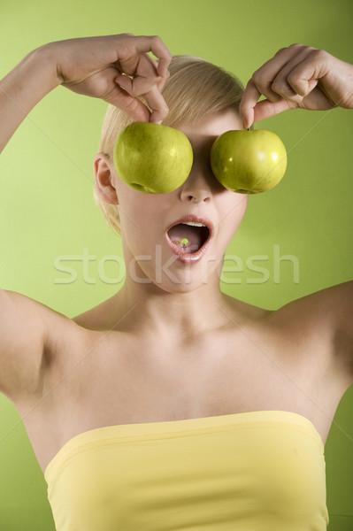 Alma szemüveg vicces lövés lány kettő Stock fotó © carlodapino