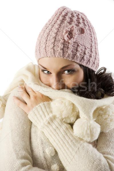 Lány tél pulóver aranyos barna hajú arc Stock fotó © carlodapino