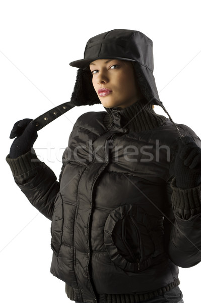 winter black parka Stock photo © carlodapino