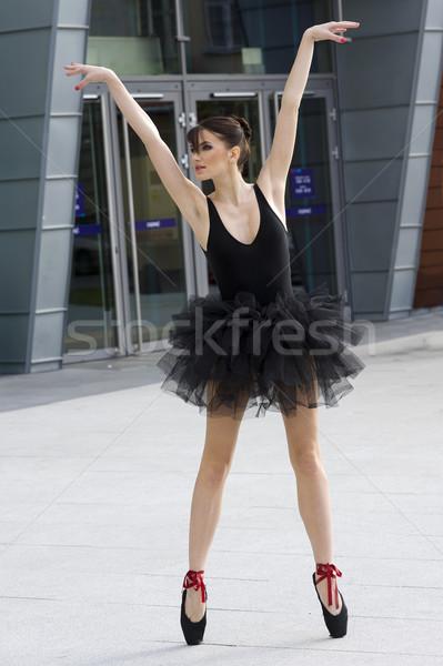 ballerina in black tutu outdoor Stock photo © carlodapino