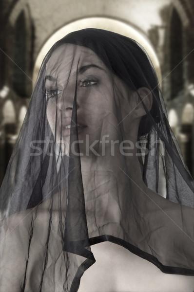 シチリア島 未亡人 魅力的な 黒 透明な ベール ストックフォト © carlodapino