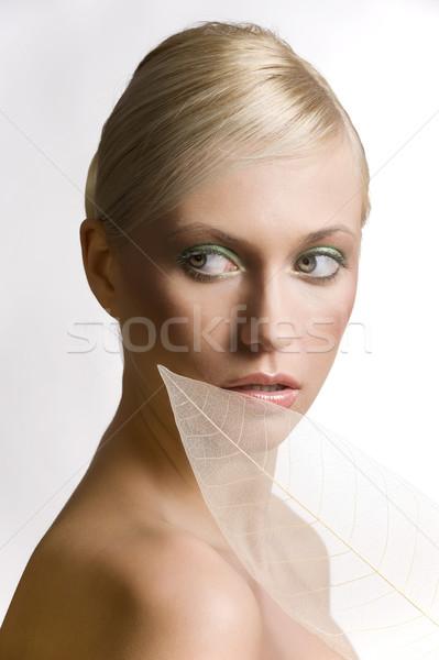 Levél szépség divat portré fiatal gyönyörű nő Stock fotó © carlodapino