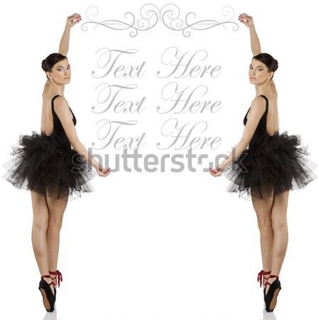 Ballerina fekete klasszikus táncos fekete ruha cipők Stock fotó © carlodapino