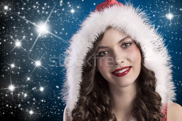 Fürtös barna hajú mikulás szépség arc lövés Stock fotó © carlodapino