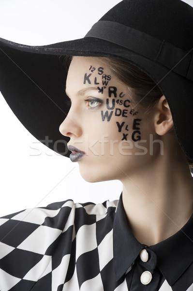 Brief gezicht creatieve make meisje pr Stockfoto © carlodapino