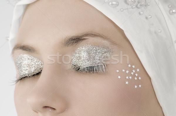 Ezüst szempilla kifakult közelkép szemek smink Stock fotó © carlodapino