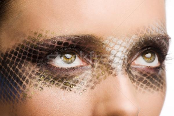 Szépség lány közelkép portré gyönyörű barna hajú Stock fotó © carlodapino