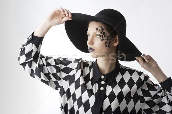 Mektup yüz yaratıcı makyaj kız güzel Stok fotoğraf © carlodapino