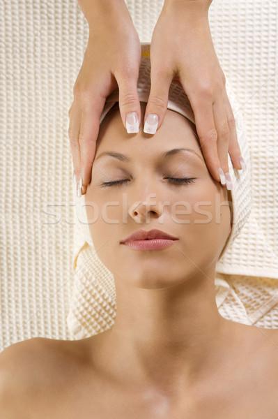 hands massage on head Stock photo © carlodapino