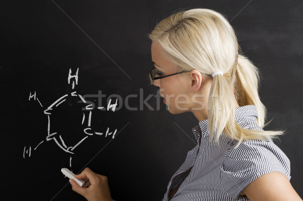 student girl at blackboard Stock photo © carlodapino