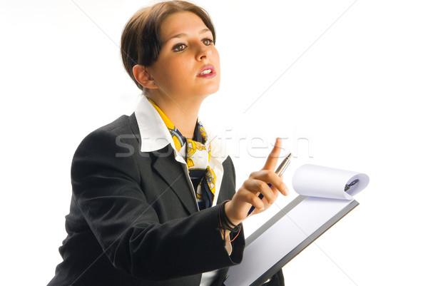 Bana genç güzel kadın siyah çalışma Stok fotoğraf © carlodapino