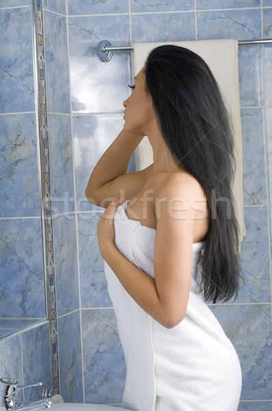 白 タオル 黒髪 いい ブルネット ミラー ストックフォト © carlodapino