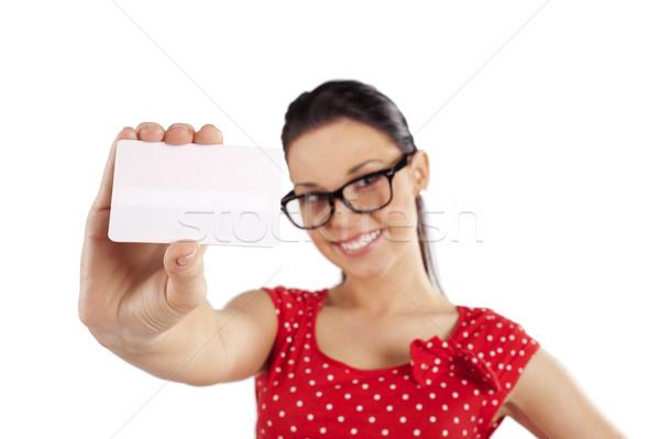 ストックフォト: 名刺 · 白 · 笑みを浮かべて · 若い女性 · 赤いドレス