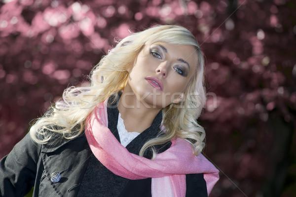 Rózsaszín portré nő fiatal szőke hajviselet Stock fotó © carlodapino