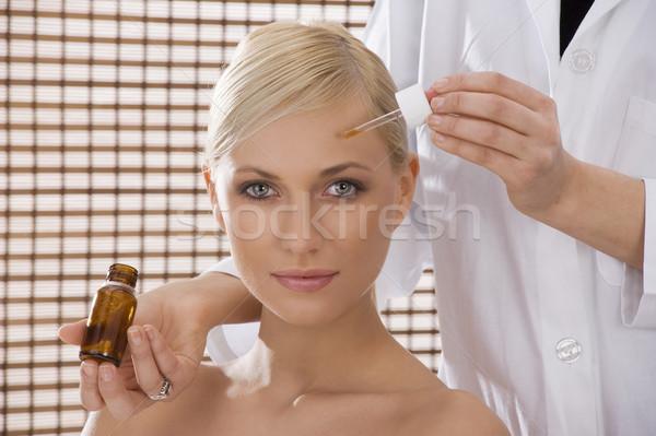 Szépségápolás nővér gyönyörű szőke lány tett Stock fotó © carlodapino