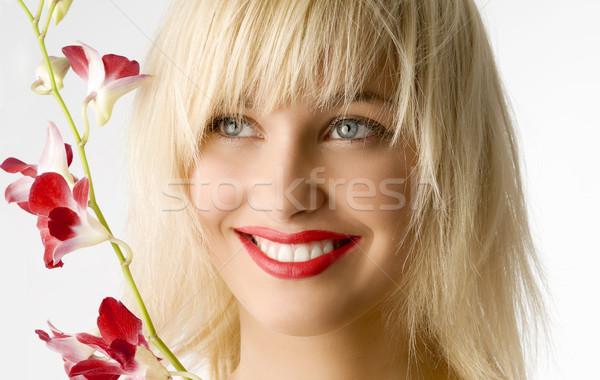 Piros ajkak virág szépség stílus portré szőke Stock fotó © carlodapino