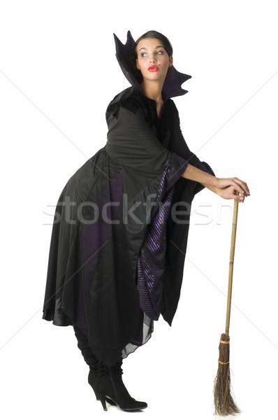 Mijn bezem mooie heks zwarte Stockfoto © carlodapino