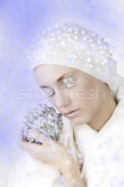 Ragyogó nő fiatal nő fehér ezüst szempilla Stock fotó © carlodapino