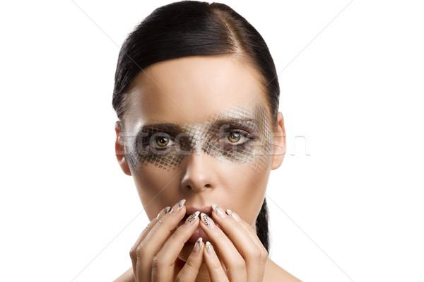 Szépség lány készít arc közelkép portré Stock fotó © carlodapino