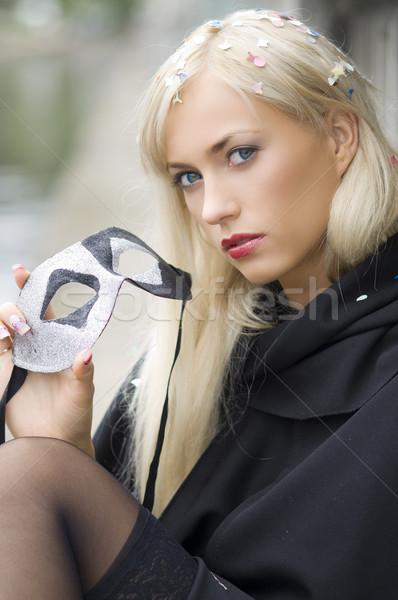 Szőke karnevál kívül portré csinos fehér Stock fotó © carlodapino