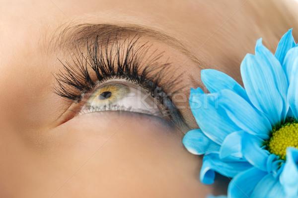 Kreatív szempilla közelkép szem nő kék Stock fotó © carlodapino