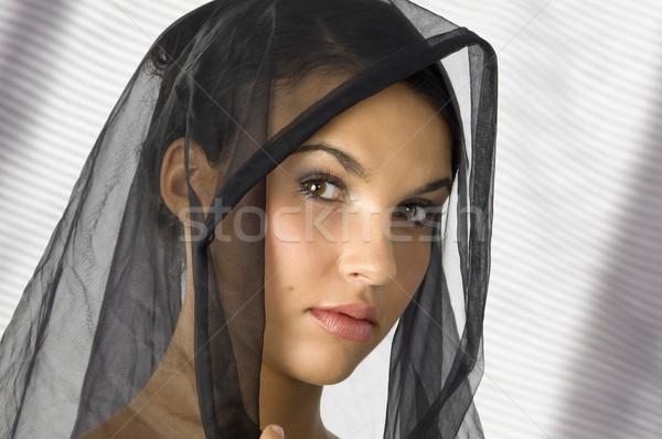 Portret zasłona nice młoda kobieta czarny głowie Zdjęcia stock © carlodapino