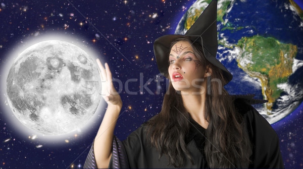 the moon and witch Stock photo © carlodapino