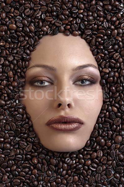 Csinos lányok arc kávé lövés lány Stock fotó © carlodapino