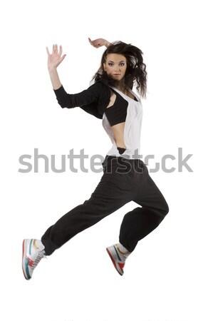 Springen meisje hip hop danser moderne jonge vrouw Stockfoto © carlodapino