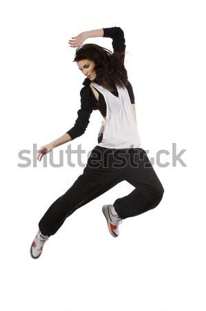 Lány hip hop táncos modern fiatal nő stílus Stock fotó © carlodapino