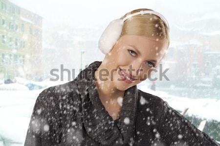 cute girl ready for the winter cold day smiling Stock photo © carlodapino