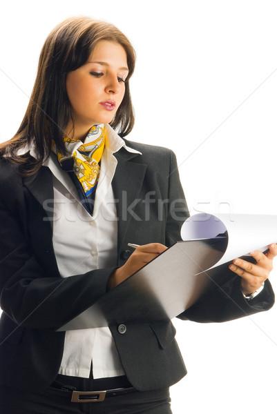 Liste genç güzel kadın siyah çalışma Stok fotoğraf © carlodapino