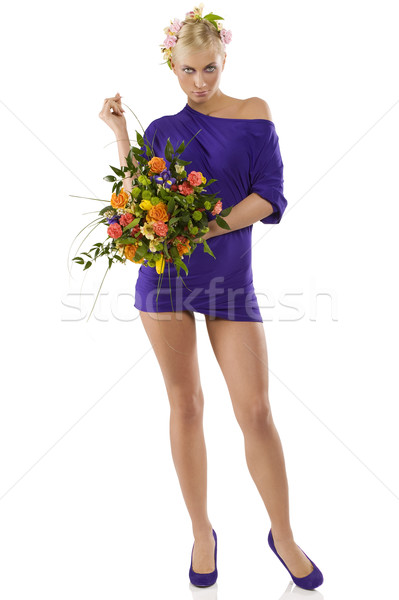 весны женщину короткий Purple платье Сток-фото © carlodapino
