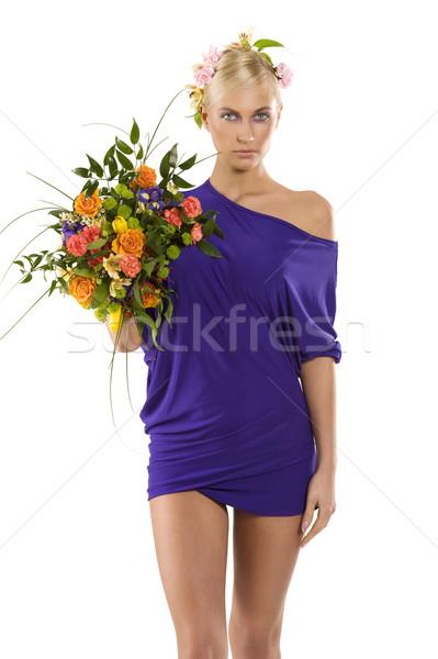 purple spring woman Stock photo © carlodapino