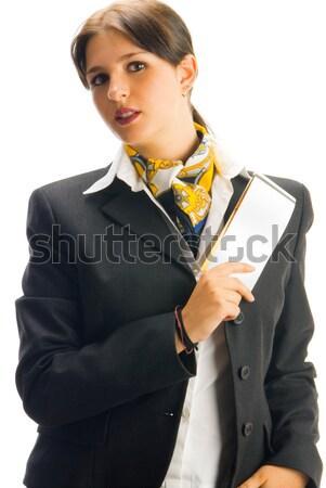 En iyi şirket sevimli hostes siyah takım elbise Stok fotoğraf © carlodapino